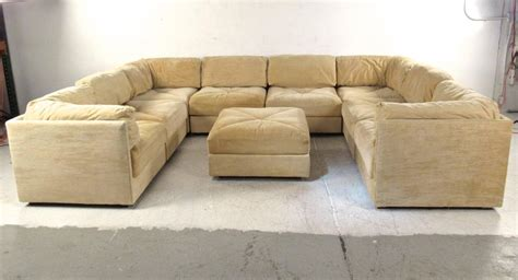 sectional with large ottoman large selig sectional sofa with ottoman mid century