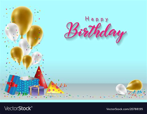 birthday card template with photo happy birthday background template royalty free vector image
