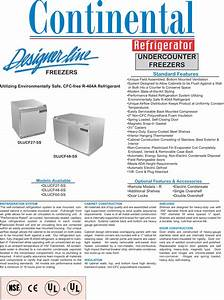 Continental Refrigerator Dlucf27 Ss Users Manual Dlucf