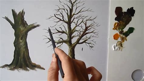 paint  tree trunk lesson  youtube