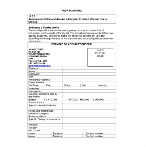 itinerary templates sample  format