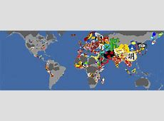 Flag Map of the World in 1444 according to the game Europa