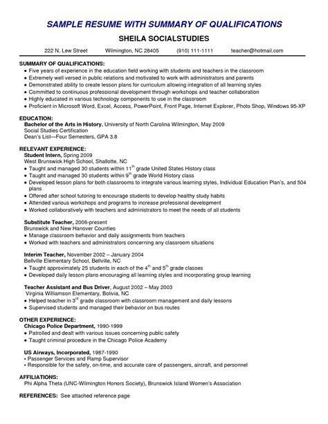 Professional Summary Resume Template by Resume Skills Summary Exles Exle Of Skills Summary