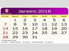 Calendário de Janeiro de 2018 webcid