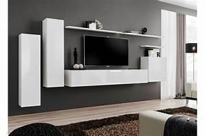 Meuble Salon Noir : meuble de salon tv suspendu blanc pour meuble tv mural ~ Teatrodelosmanantiales.com Idées de Décoration