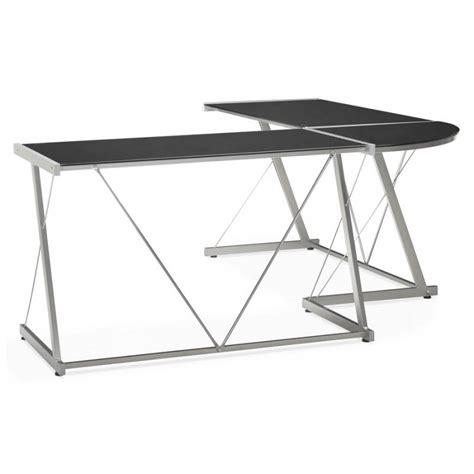 bureau verre trempé noir bureau d 39 angle design rovigo en verre trempé et métal noir