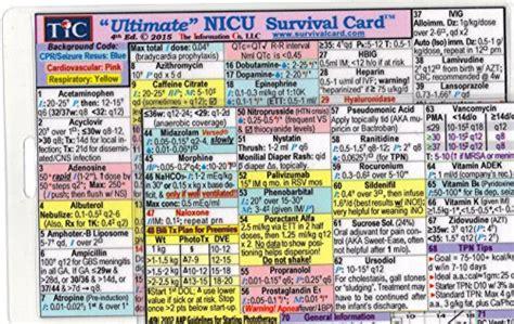 Ultimate Nicu Neonatal Intensive Care Unit Survival Card