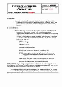 first article inspection printable pdf download With first article inspection procedure template