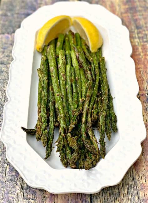 fryer air asparagus roasted easy quick recipe plate vegetables veggies roast cook long roasting keto disclosure affiliate contain links please