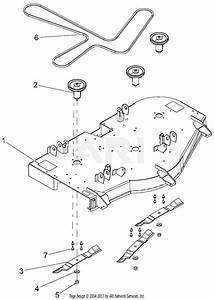 Gravely 915174  000101 - 015999  Ztx 52 Parts Diagram For Deck  Belt  Blades And Spindles