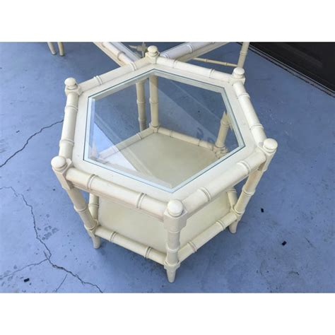 • orange large coffee table is a. Clear Glass Vintage Chinoiserie Thomasville Faux Bamboo Coffee Table and Side Table - Set of 3 ...