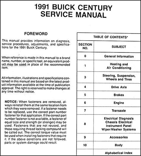 online car repair manuals free 1989 buick century electronic throttle control 1991 buick century repair shop manual original
