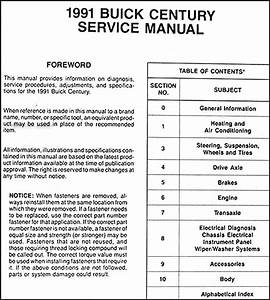 1991 Buick Century Repair Shop Manual Original