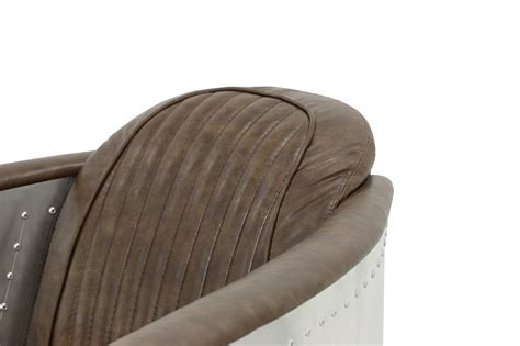 Aviator Replica Arm Chair With Aluminium Silver (old Brown