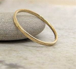 thin wedding band gold wedding ring 14k hammered gold wedding With thin band wedding rings