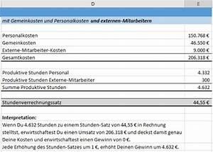 Stunden Berechnen Excel : so geht stundenverrechnungssatz kalkulation ~ Themetempest.com Abrechnung