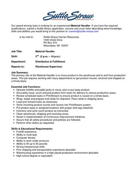 Materials Handler Resume material handler resume skills warehouse material handler
