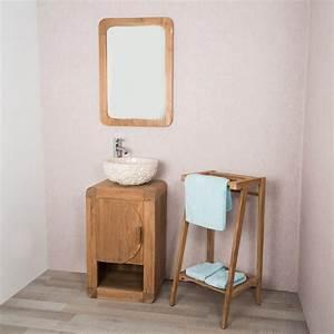 Meuble Pour Petite Salle De Bain : meuble sous vasque simple vasque en bois teck massif ~ Dailycaller-alerts.com Idées de Décoration