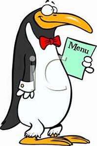 A Penguin Holding a Menu - Royalty Free Clipart Picture