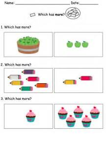 Kindergarten Math Worksheets More and Less