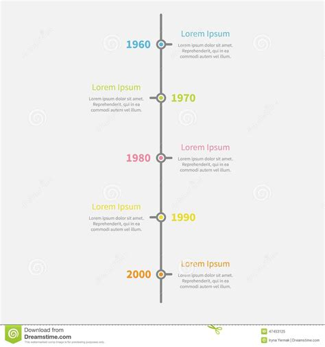 vertical timeline template timeline vertical infographic with color text template flat design style stock illustration