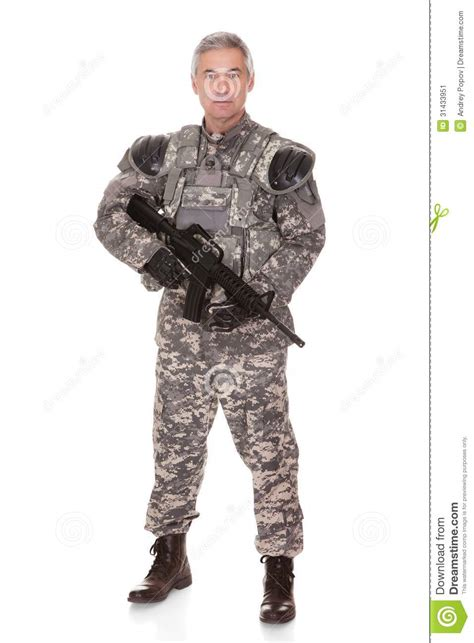 Standing Firm mature soldier holding rifle stock image image 31433951