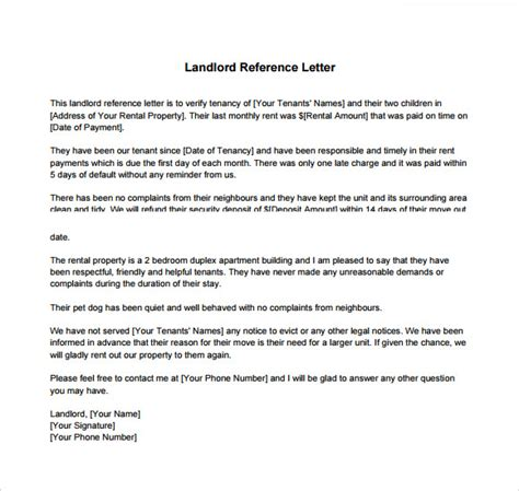landlord reference letter templates