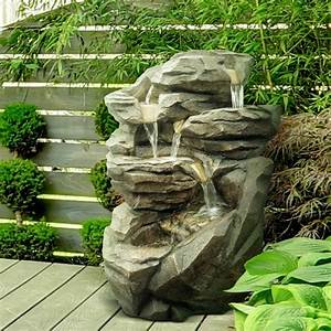 fournisseur grossiste fontaine jardin xl cascade pierre With fontaine a eau exterieur solaire