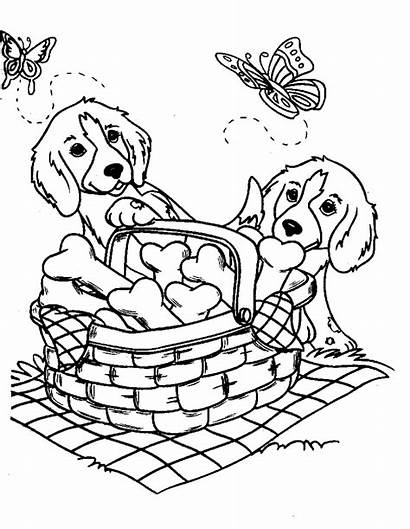 Coloring Puppy Picnic Pages Puppies Printable Scribblefun