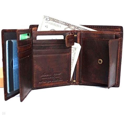 men money clip genuine leather wallet coin pocket retro