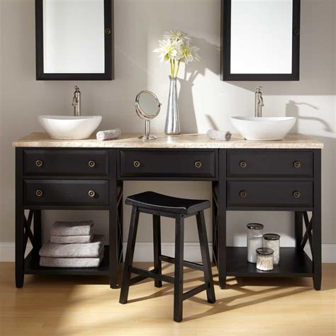clinton vessel sink vanity  makeup area cherry