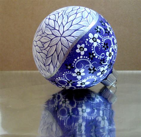 hand painted christmas ornaments purple white painted ornament