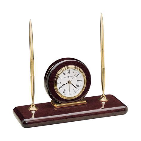 Rosewood Desk Clock Pen Set