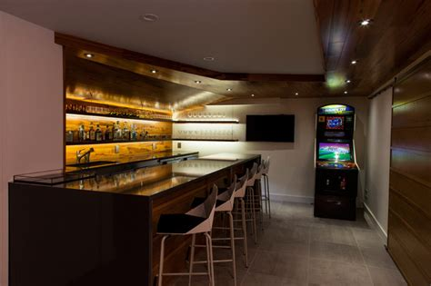 High End Home Design Ideas by Milton Basement Fit Out Modern Home Bar Boston By