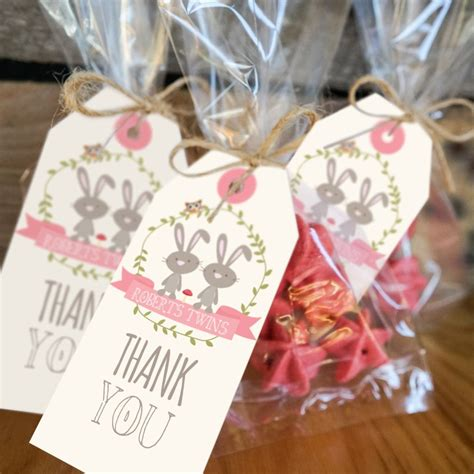 Save The Date Baby Shower twin bunny baby shower favor tags woodland twin baby