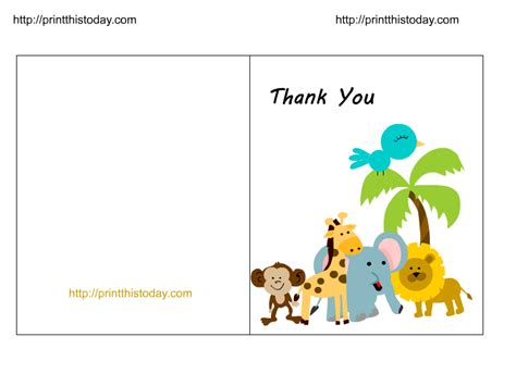 animal thank you card template free jungle baby shower thank you cards printable