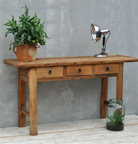 elm console table reclaimed rustic solid elm three drawer console table 3559