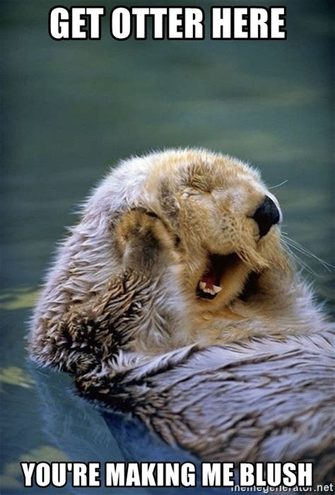 Making Me Blush Meme - get otter here you re making me blush significant otter meme generator