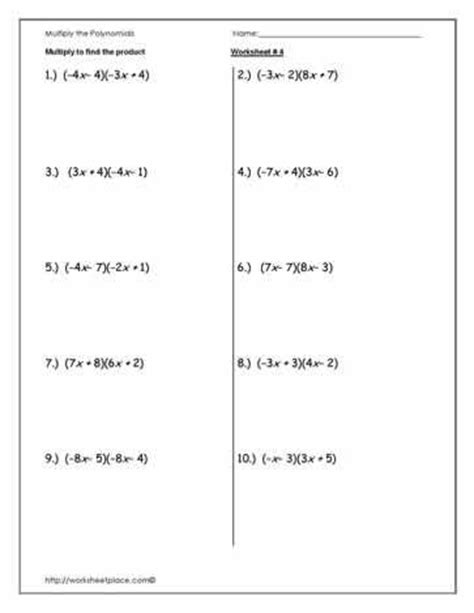 multiply polynomials worksheet 4 math madness