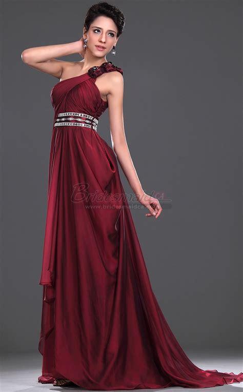 burgundy chiffon  shoulder long bridesmaid dress bd