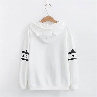 Hoodie Cat Kawaii Kurustore Sleeve Thin Pocket