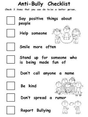 anti bully checklist from melissas corner on