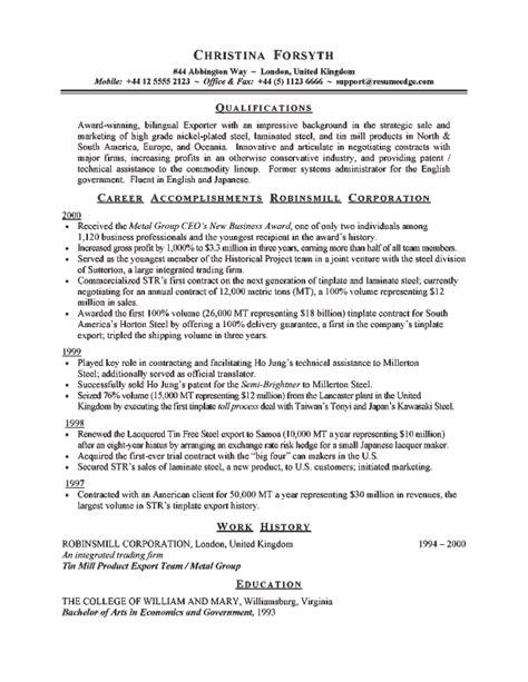exporter resume