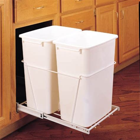 kitchen trash can cabinet rev a shelf trash pullout 35 quart white rv 18pb 2 6327