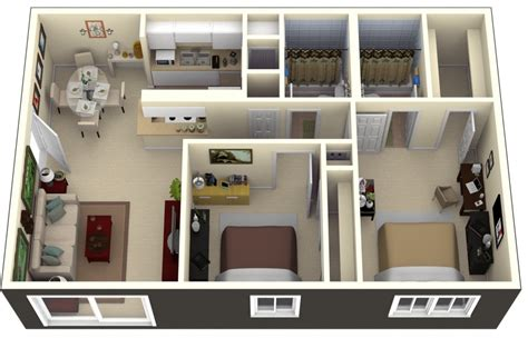 two bed room house 50 3d floor plans lay out designs for 2 bedroom house or