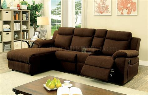 brown fabric recliner sofa kamryn reclining sectional sofa cm6771br in brown fabric