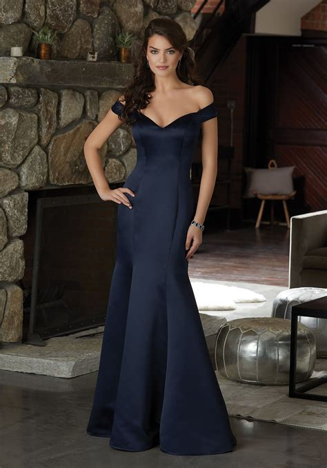 satin  illusion neckline bridesmaid dress style