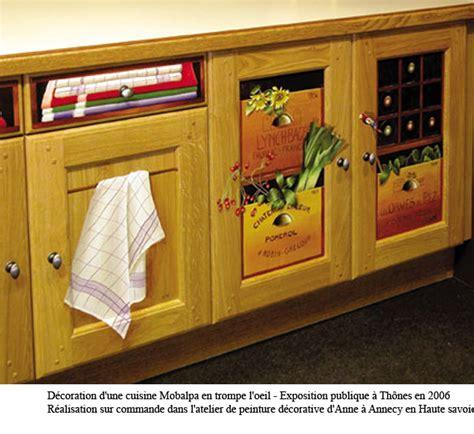 trompe l oeil cuisine peinture en trompe l 39 oeil sur éléments cuisine annecy
