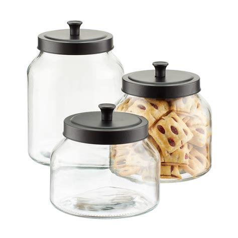 Kitchen Glass Canisters by Glass Canisters With Matte Black Lids The Container Store