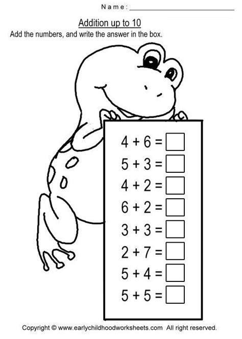addition up to 10 worksheets numeri